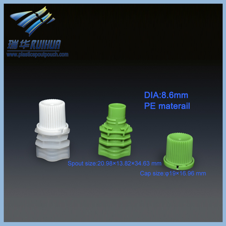 PE stand up pouch plastic cap with spout