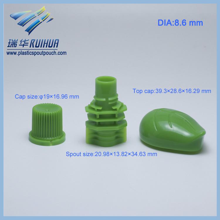 Wholesale leaf shape plastic screw cover with spout