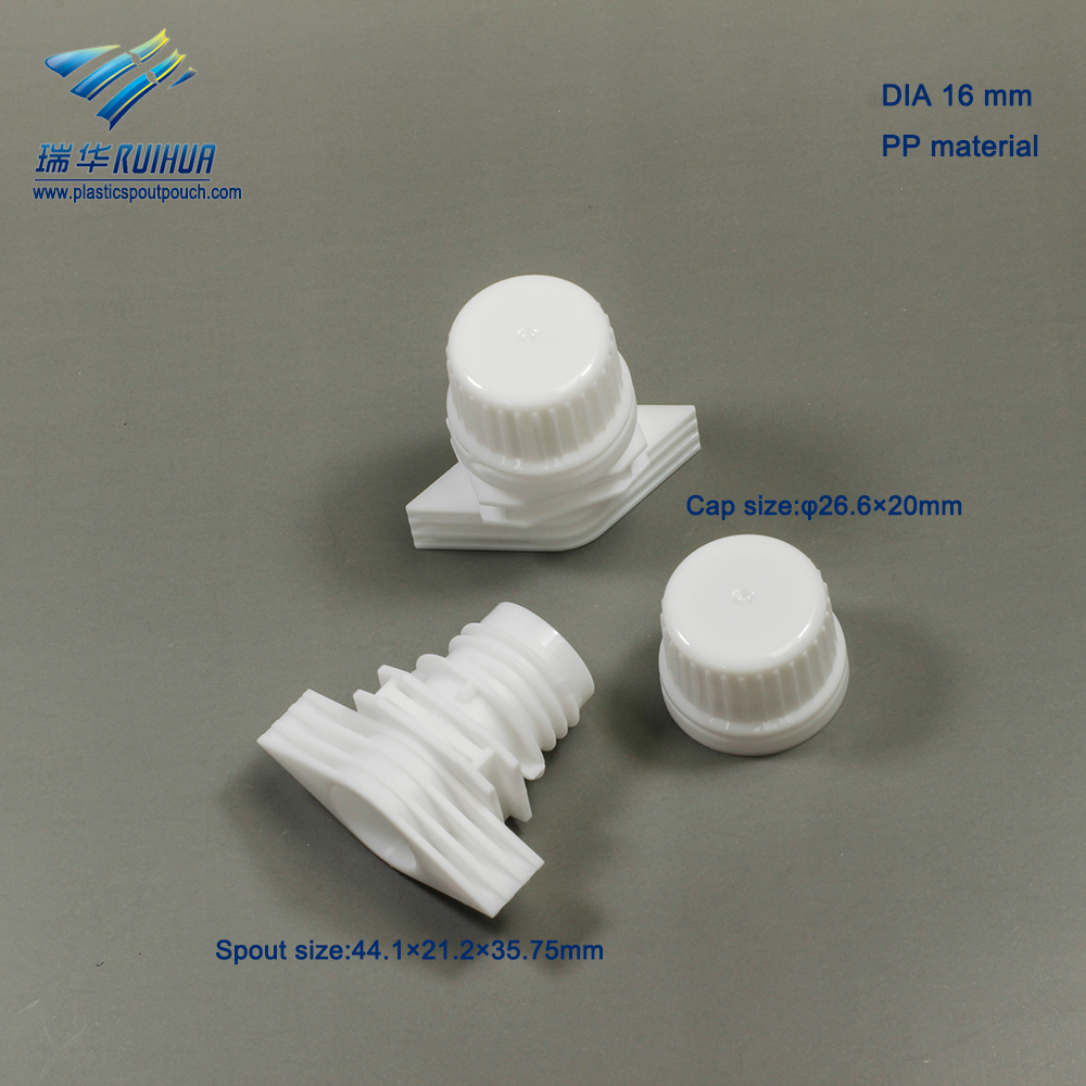 washing product pouch plastic corner plastic spout with cap