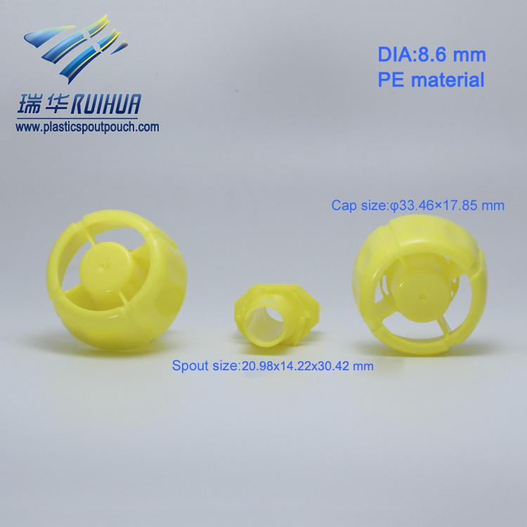 Bulk yellow mushroom shape 8.6mm plastic agent bottle cap