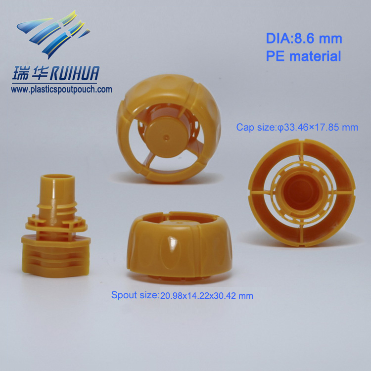 Mushroom shape plastic stand up pouch corner spout
