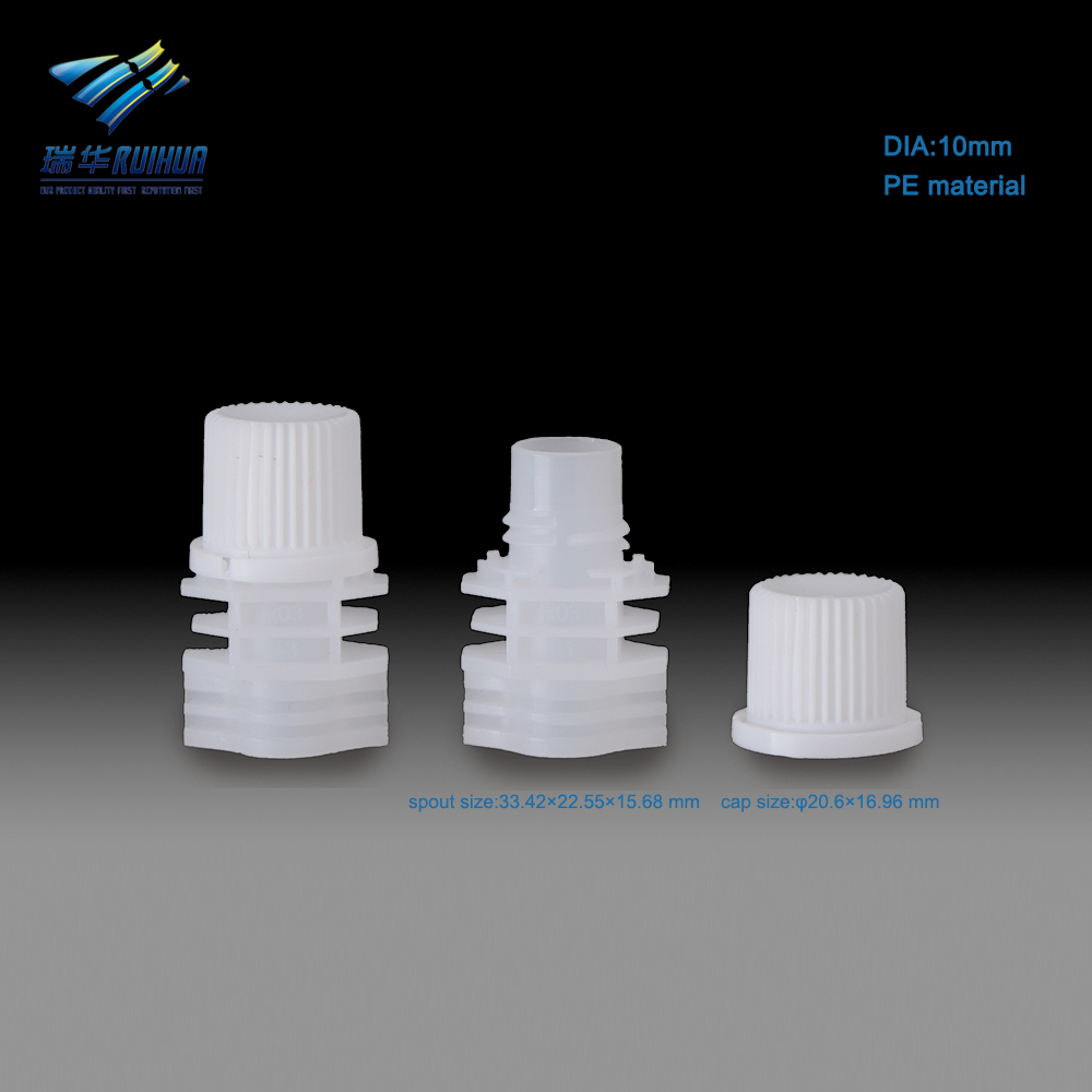 Liquid doypack screw cap plastic spout for pouches