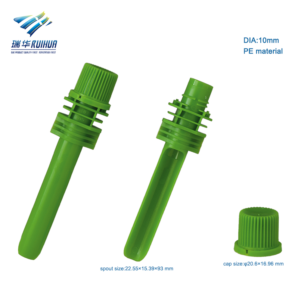 10mm food grade long nozzle plastic liquid spout and cap
