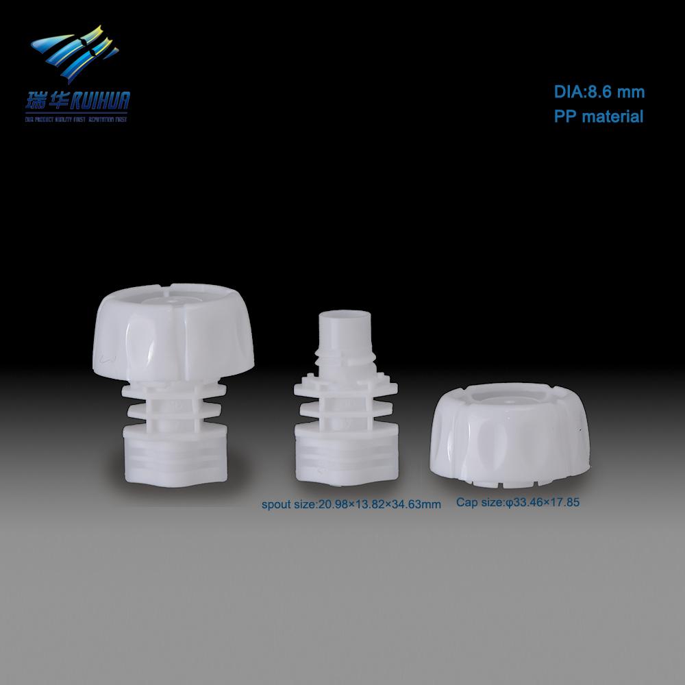 8.6mm food pacakaging pouch plastic screw cap spout