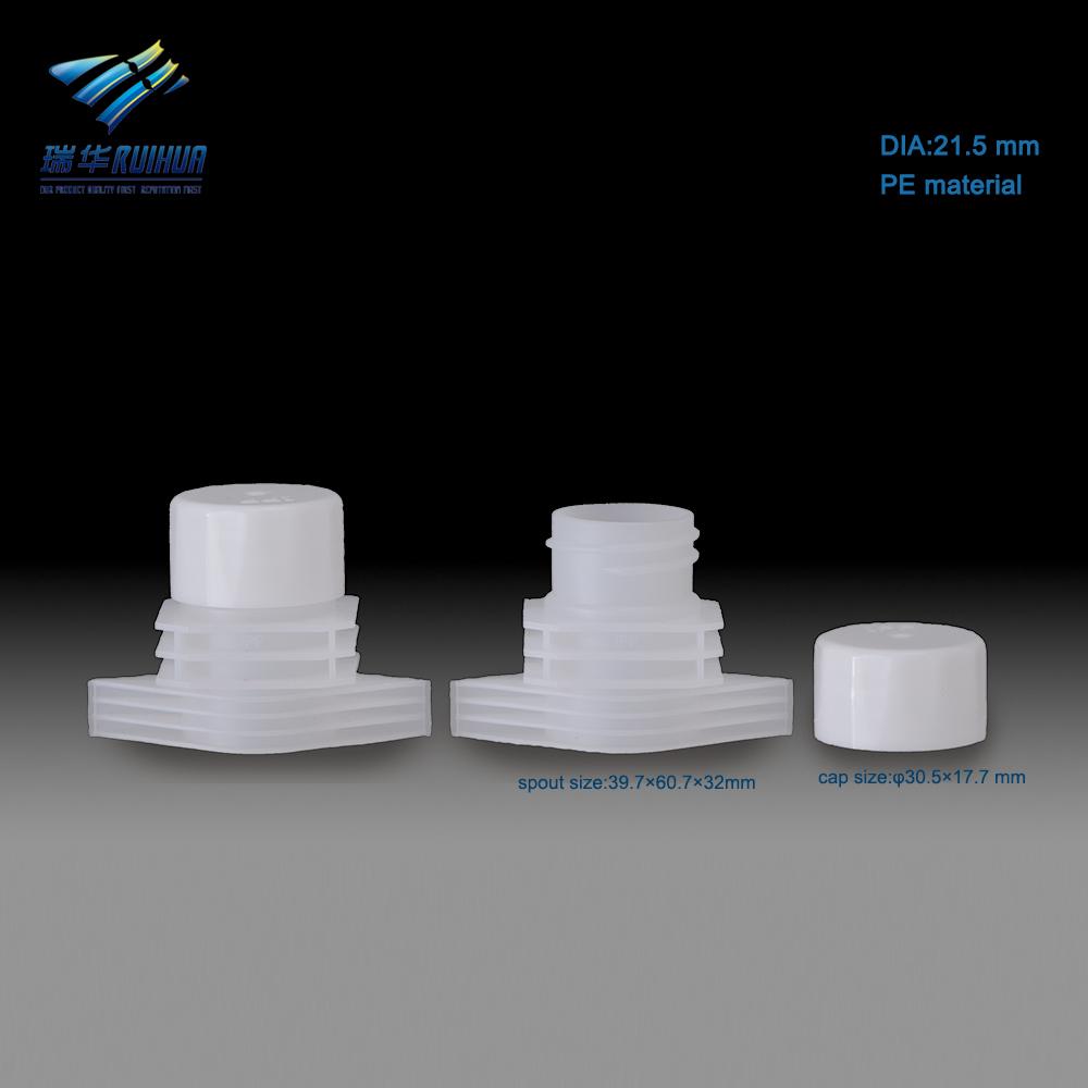 Flexible liquid packaging spout plastic closures for pouches